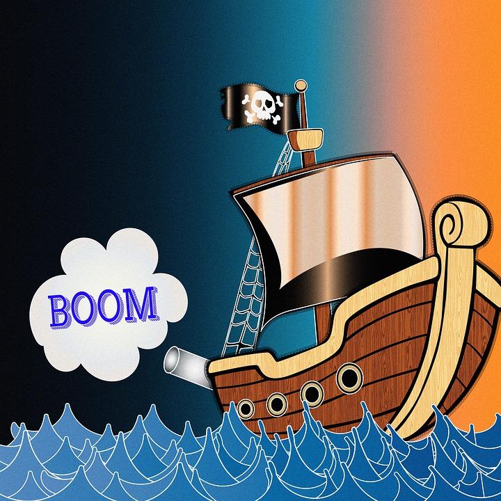 Digital Paper, Children's Paper, Pirate Ship, Pirate