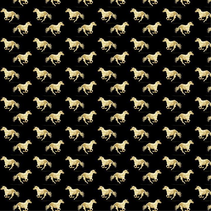 Digital Paper, Gold Foil And Black, Unicorns, Peacocks