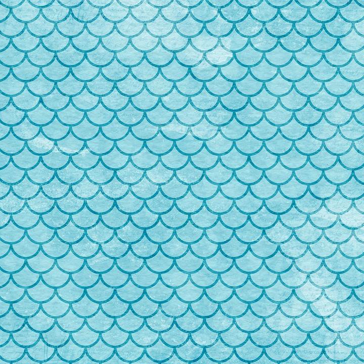Watercolor Blue, Mermaid Scales, Digital Paper