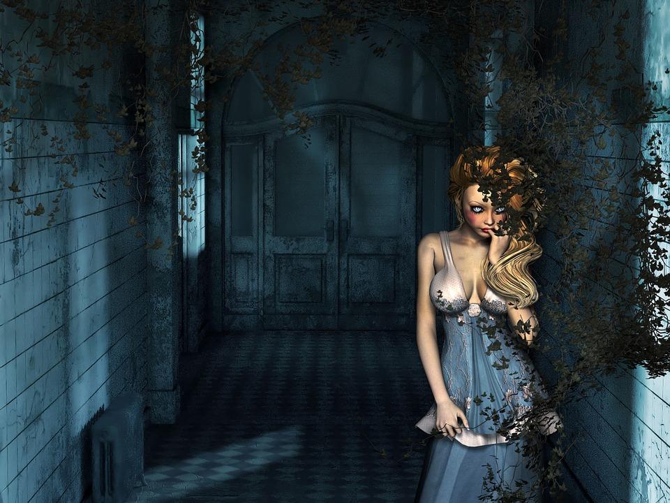 Artistic, Digital, Blue, Room, Plant, Woman, Dark