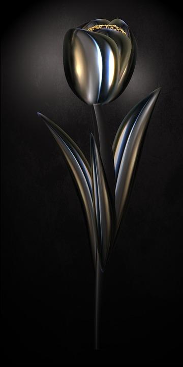 Tulip, Chrome, Metallic, Gloss, Shiny, Flower, Digital