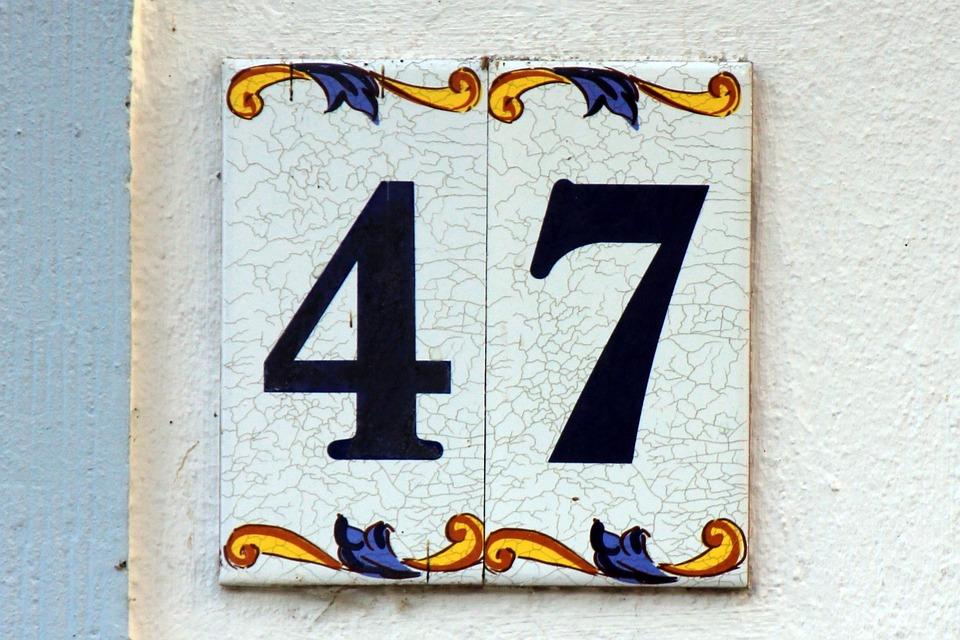 Number, Digits, 47, Forty Seven, Tile, House Number