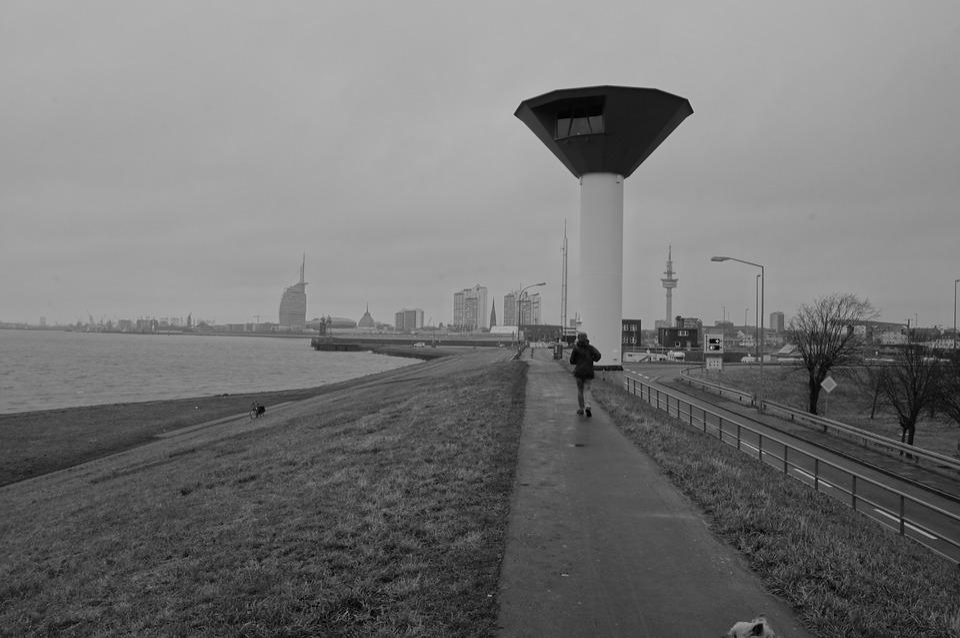 Dike, River, Away, North Sea, Lighthouse