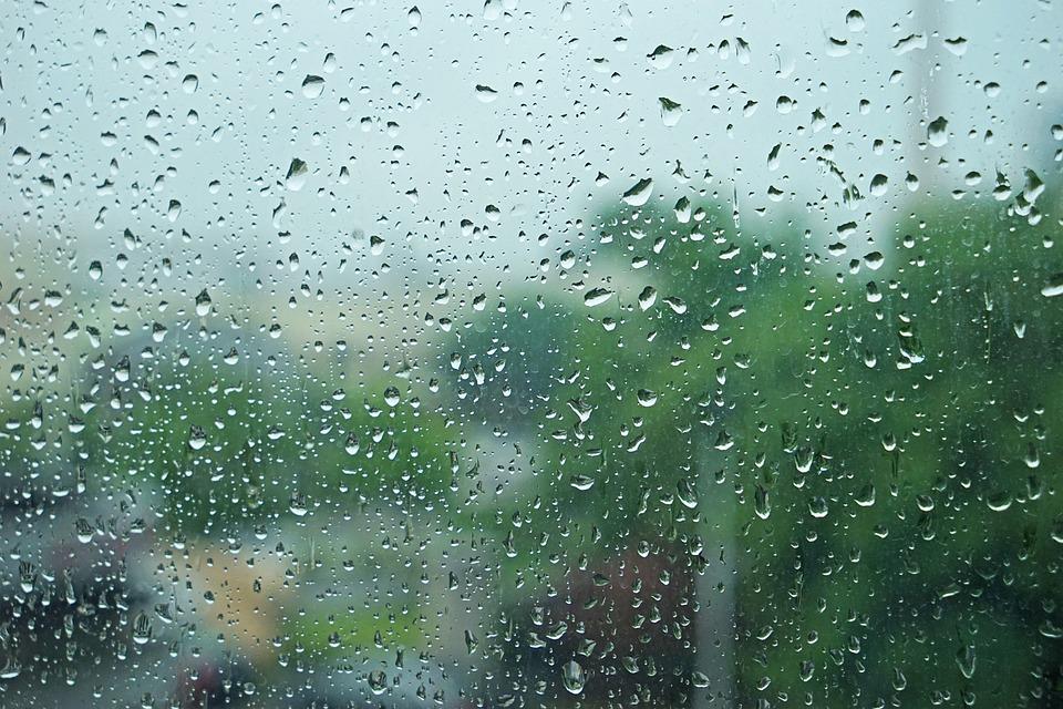 Window Rain Water Drops The Scenery Dim