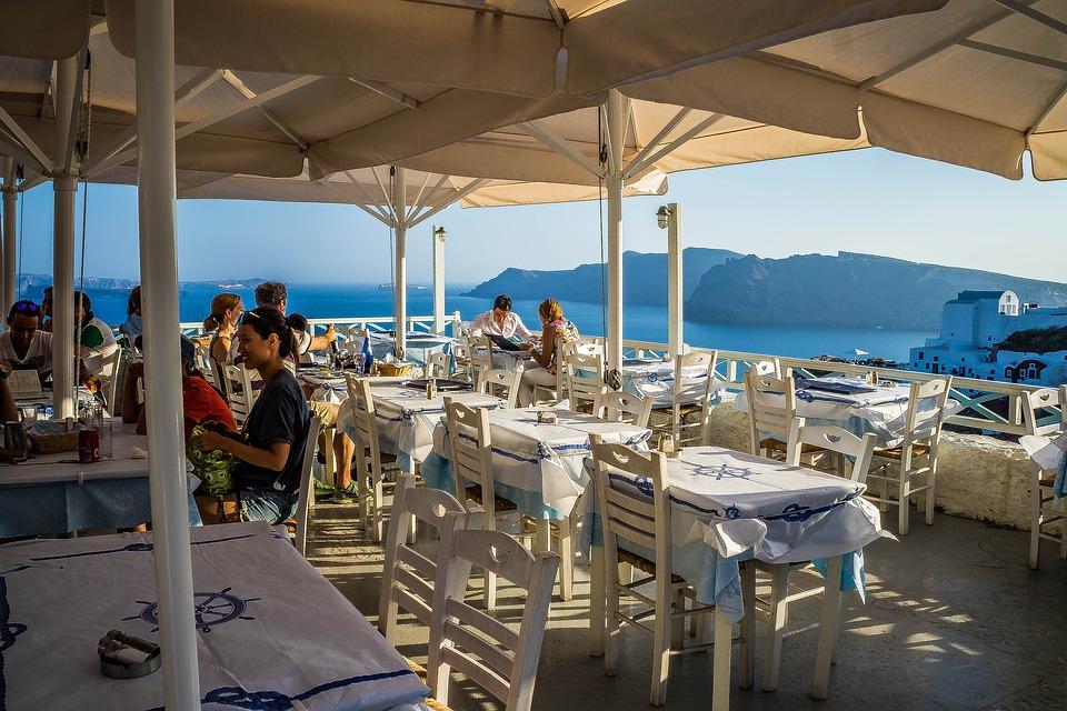 Restaurant, Oia, Santorini, Greece, Dining, Travel