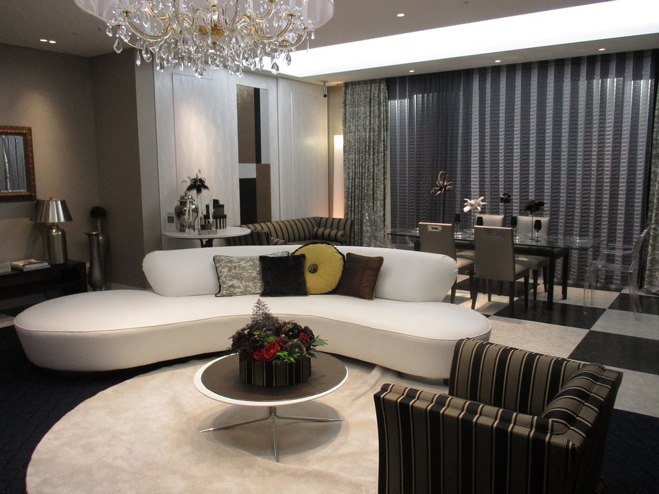 Living Room, Chandelier, Sofa, Dining Table, Dining