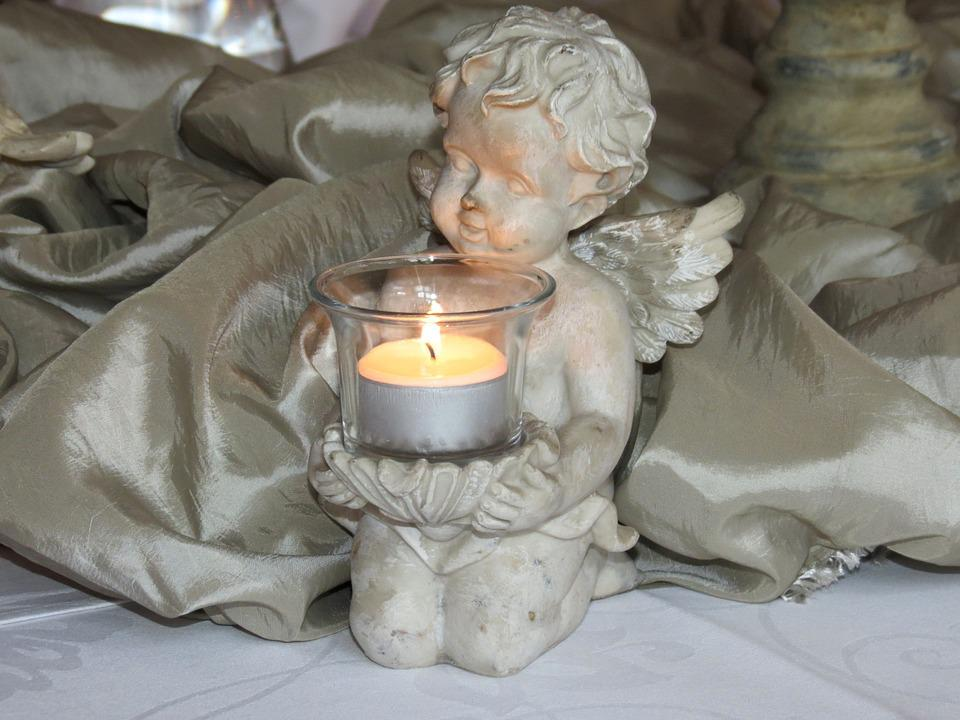 Angel, Amor, Candle, Chandelier, White, Dining Table