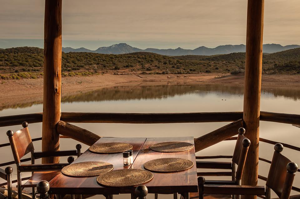 Africa, Lodge, Water Hole, Dinner, Elephant, Outlook