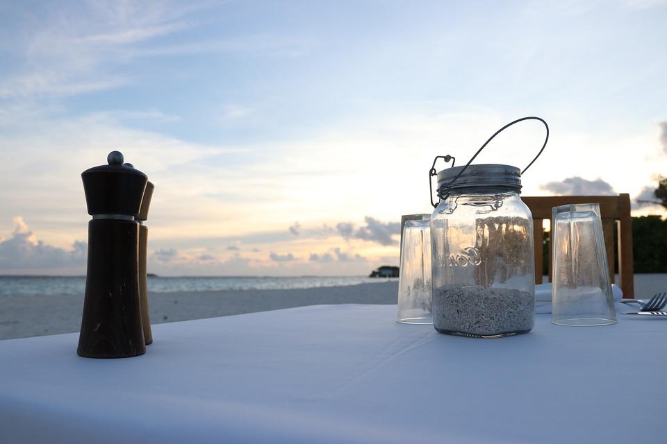 Beach, Dinner, Sunset, Maldives, Table Setting