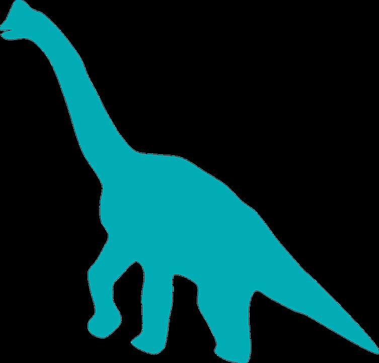 Dinosaur, Huge, Long Neck, Tail, Silhouette, Blue