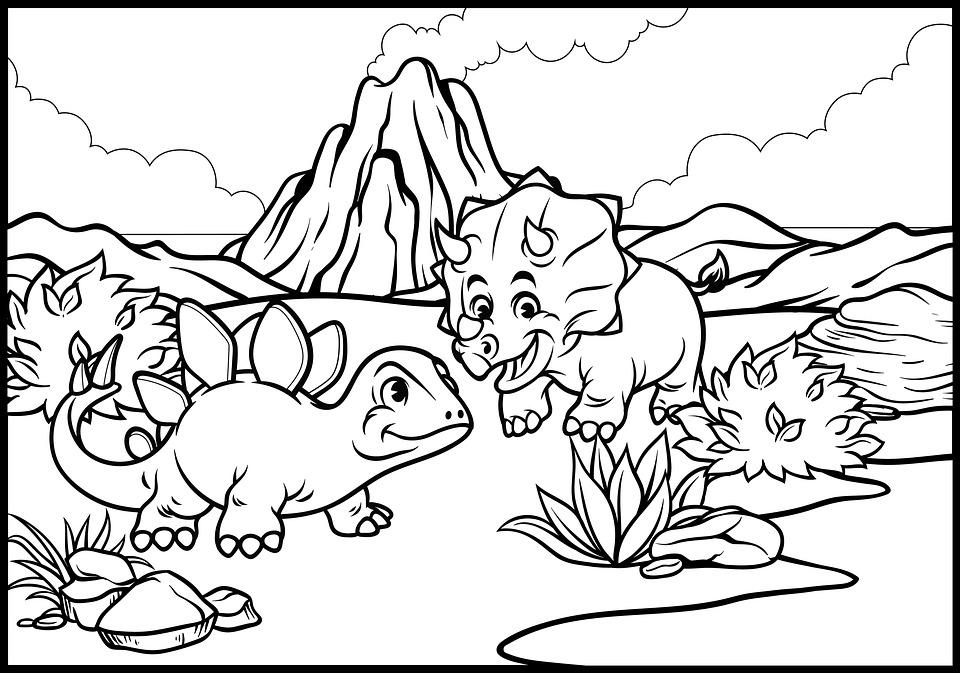 Dinosaurs, Prehistoric, Drawing, Line Drawing, Line Art