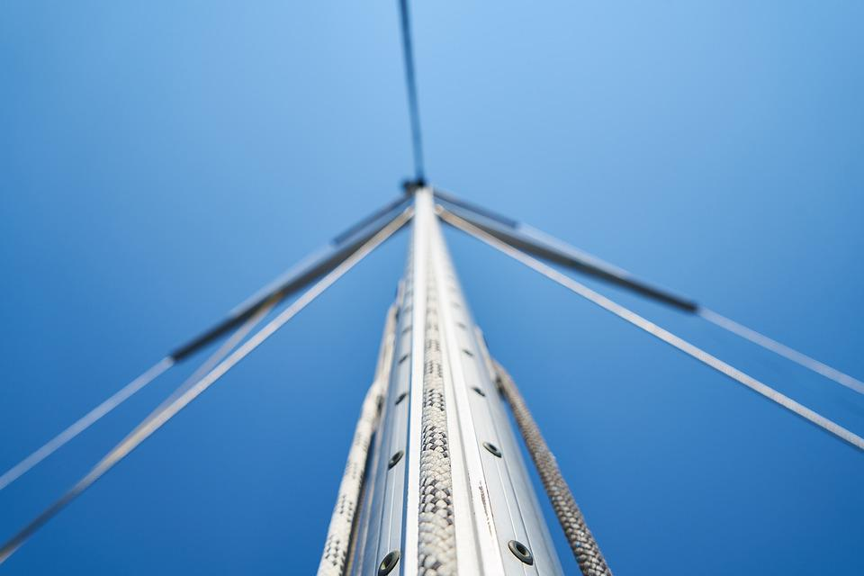 Sailboat, Direct, High, Rope, Blue, Sky, Steel, Solid