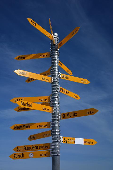 Signposts, Directions, Pizol, Direction, Arrow, Shield