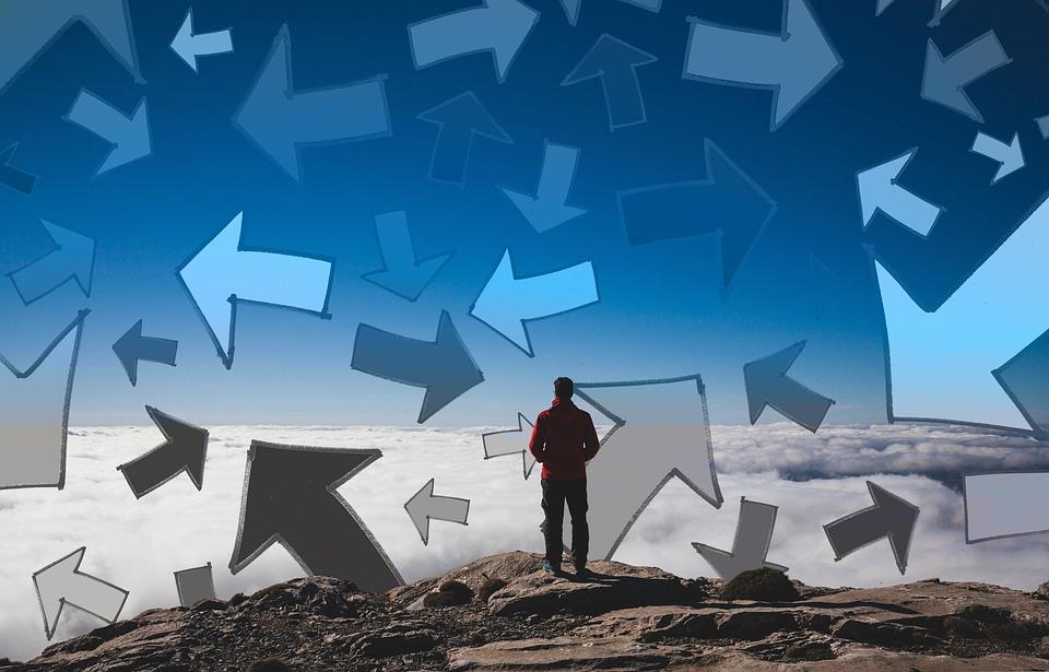 Arrows, Man, Summit, Peak, Career, Many, Direction