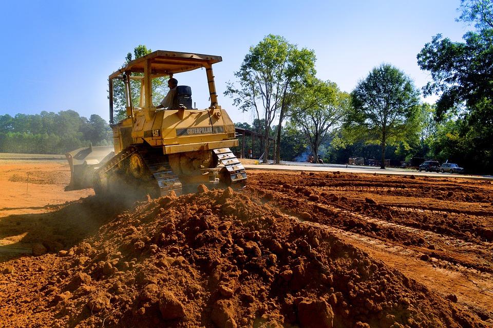 Bulldozer, Dirt, Yellow, Sky, Trees, Construction, Site