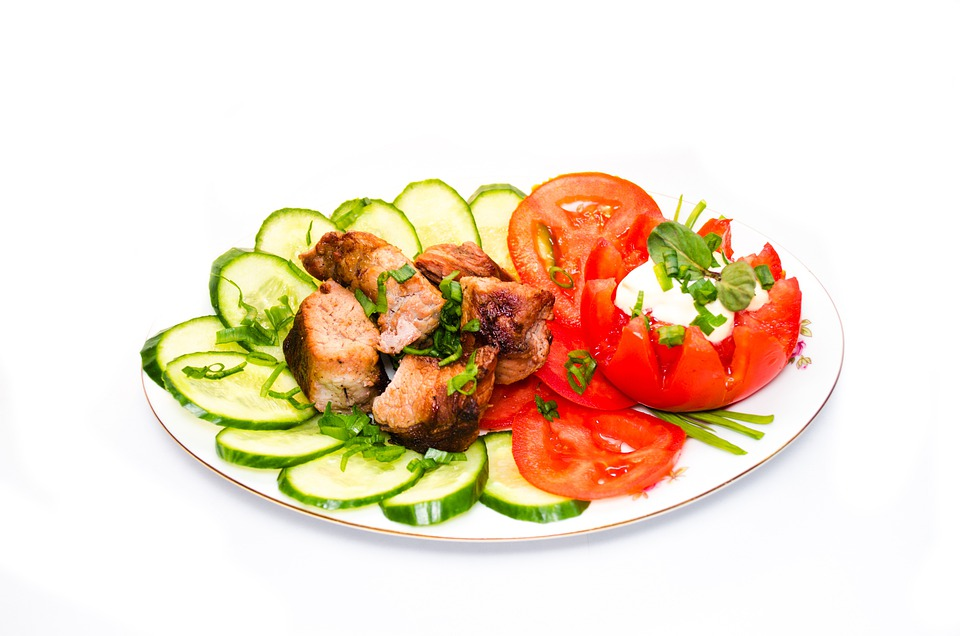Shashlik, Bbq, Barbecue, Cucumbers, Tomatoes, Dish
