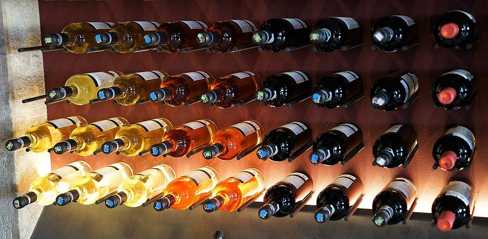 Wine, Rack, Display, Backlight, Red, White