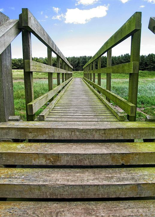 Bridge, Wooden, Wood, Perspective, Distance, Across