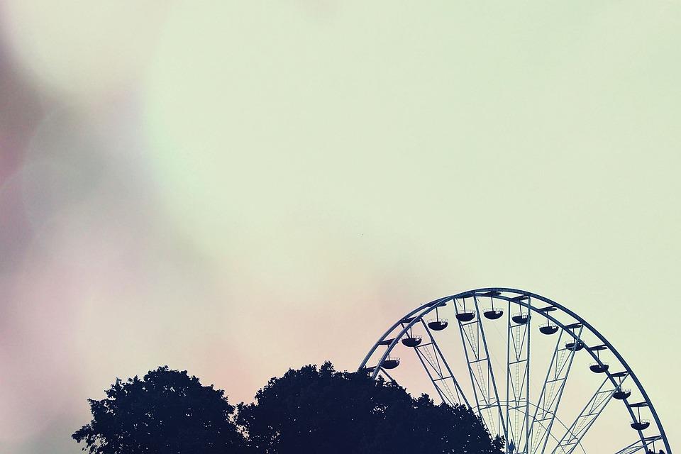 Carousel, Ferris Wheel, Silhouette, Distant
