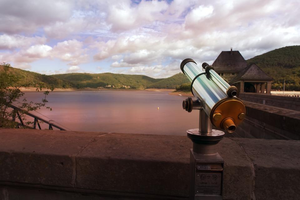 Binoculars, Lake, Reservoir, View, Telescope, Distant
