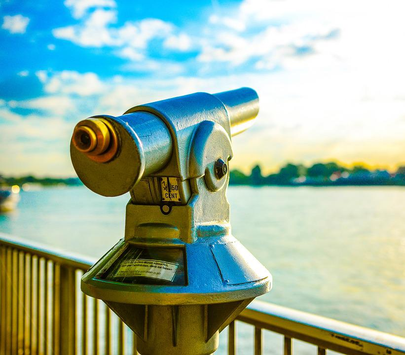 Rhine, Telescope, River, Cologne, Distant View, Metal