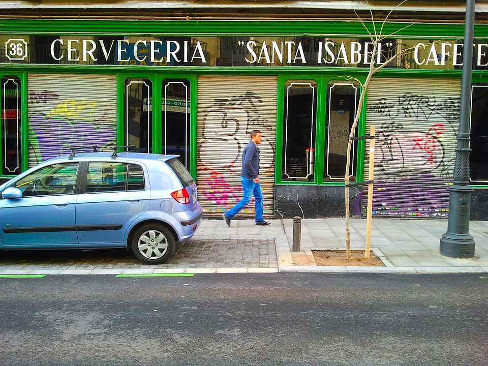 Trade, District, Madrid, Street, Graffiti, Coffee