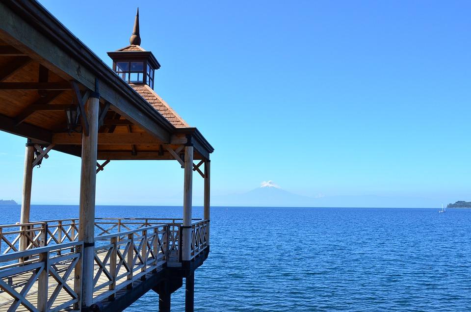 Landscape, Lake, Volcano, Dock