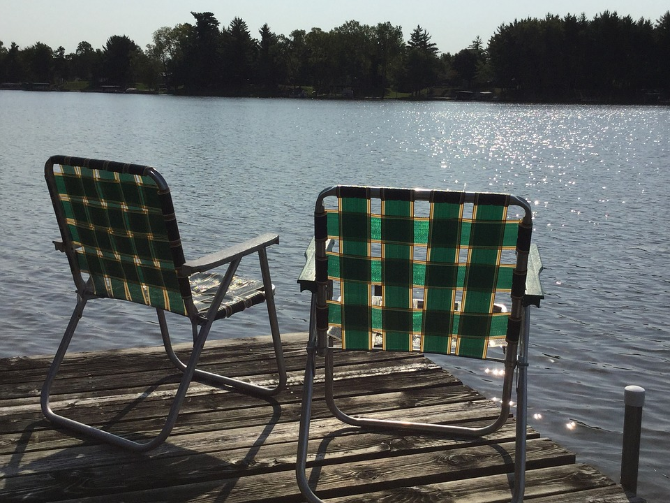 Lake, Dock, Water, Lawn-chair, Vacation, Relax, Summer