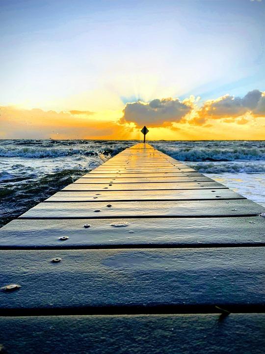 Sunset, Dock, Pier, Dusk, Sea, Nature, Ocean, Scenic