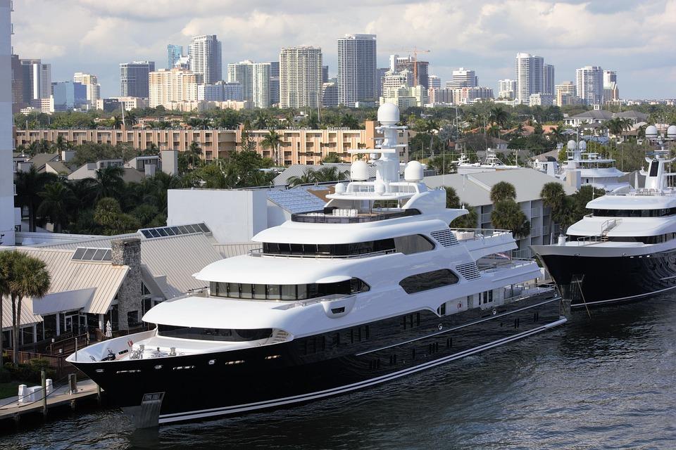 Luxury Yacht, Docked, City Background, Yacht, Boat