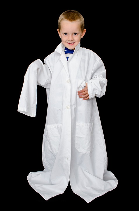Child, Kid, Boy, Coat, White, Doctor, Laboratory