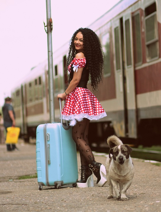 Girl, Train Station, Baggage, Dog, Peron, Dress