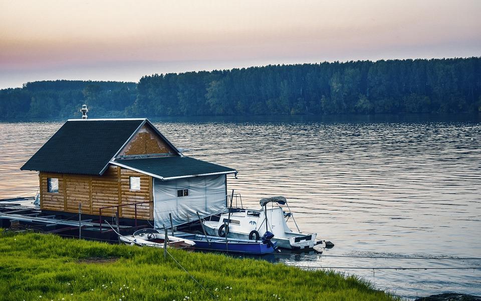 River, Danube, House, Boat, Trees, Dog, Pier