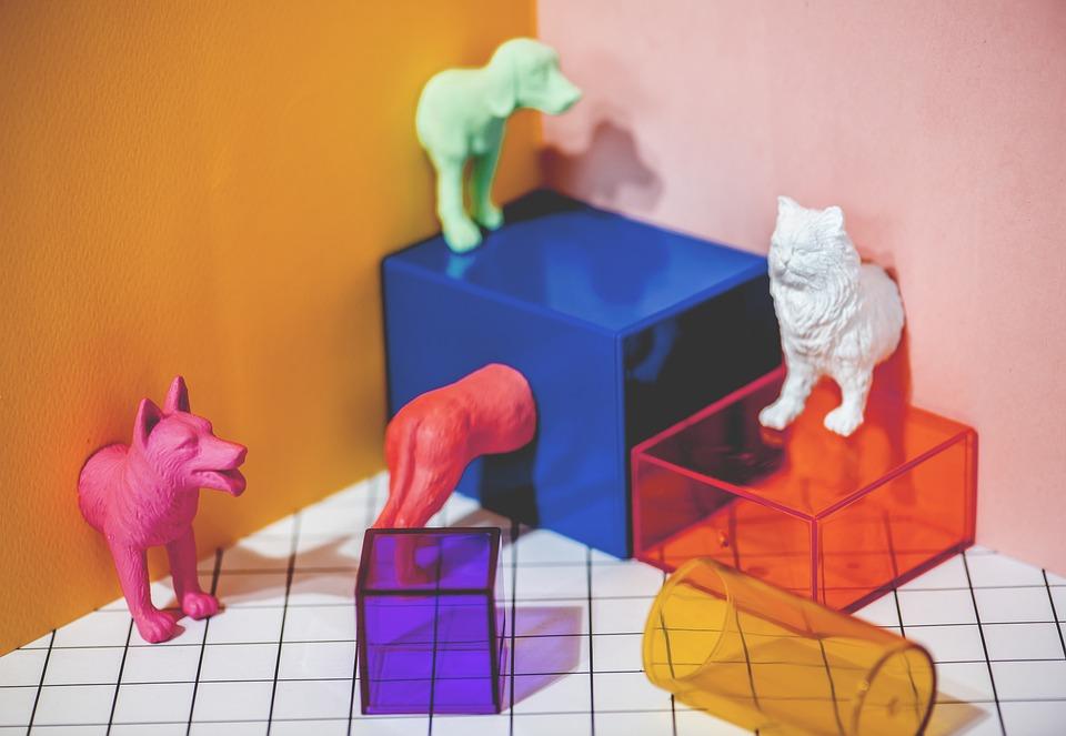 Miniature, Toys, Animal, Cat, Cube, Decoration, Dog