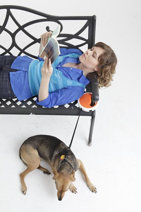 Dog Leash, Dog, Woman, Reading Magazine, Happy, Pet