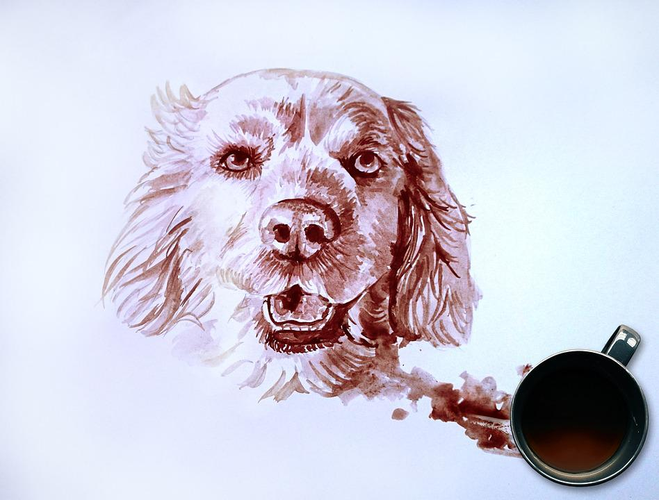 Dog Portrait, Coffee Painting, Painting, Dog Lovers