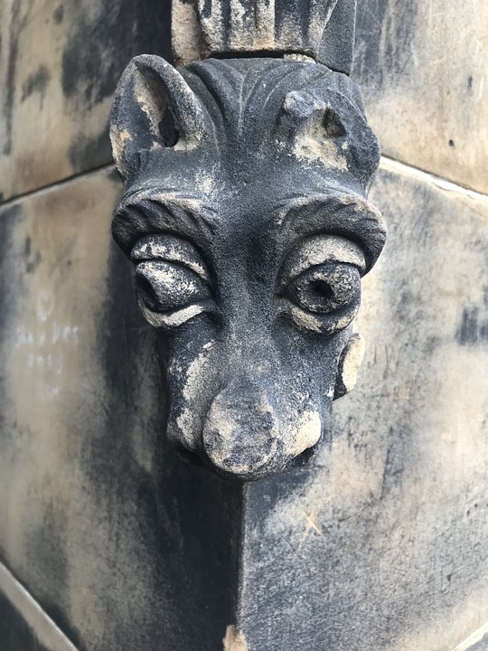 Stone Carving, Wolf, Dog