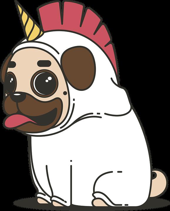 Pug, Unicorn, Dog, Animal, Puppy