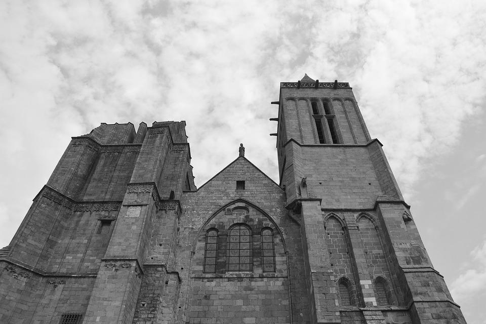 Cathedral, Dol De Bretagne, Photo Black White