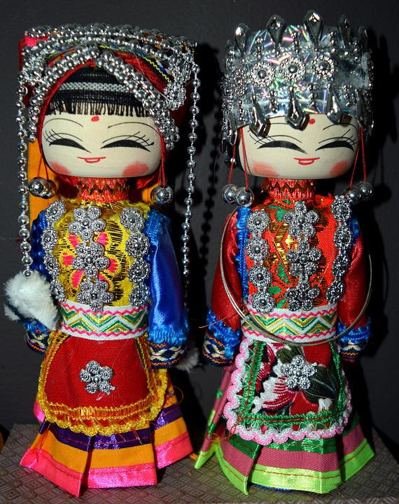 Dolls, Chinese, Wooden, Decorative