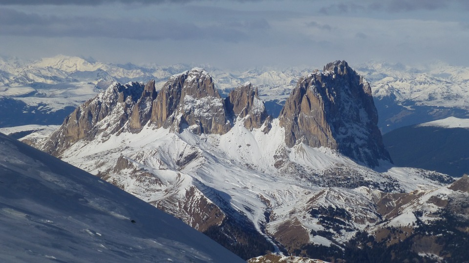 Sassolungo, Dolomites, Mountains, Italy, Snow, Blue Sky