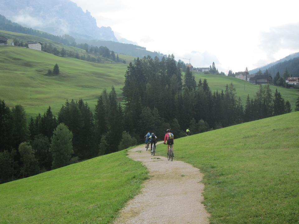 Dolomites, Mountains, Italy, Cyclists, Transalp, Exit