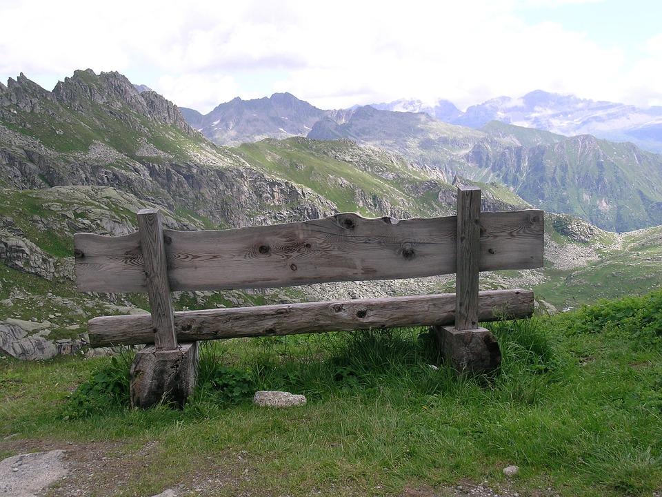 Bench, Italy, Trentino, Dolomites, Landscape