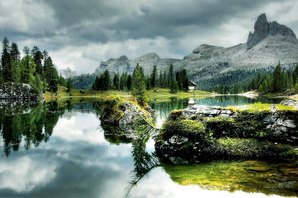 Bergsee, Lago Federa, Alpine, Mountains, Dolomites