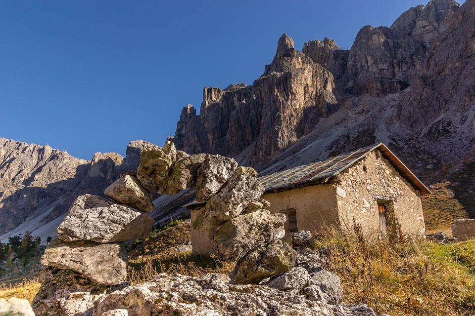 Antersasc, Dolomites, Ladinia, Stones, Baita, Wall