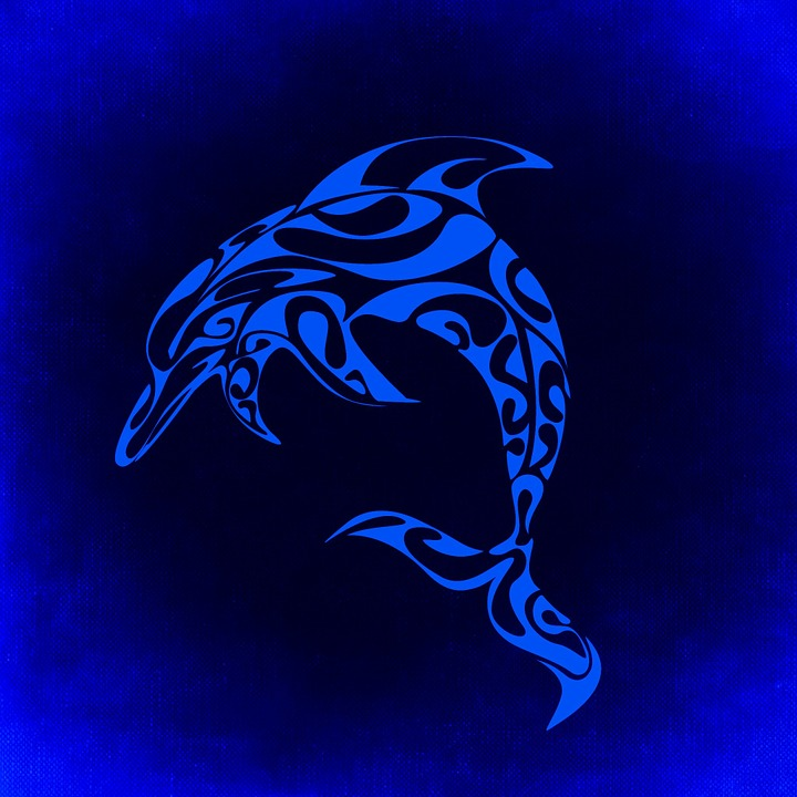 Dolphin, Mystical, Background, Blue