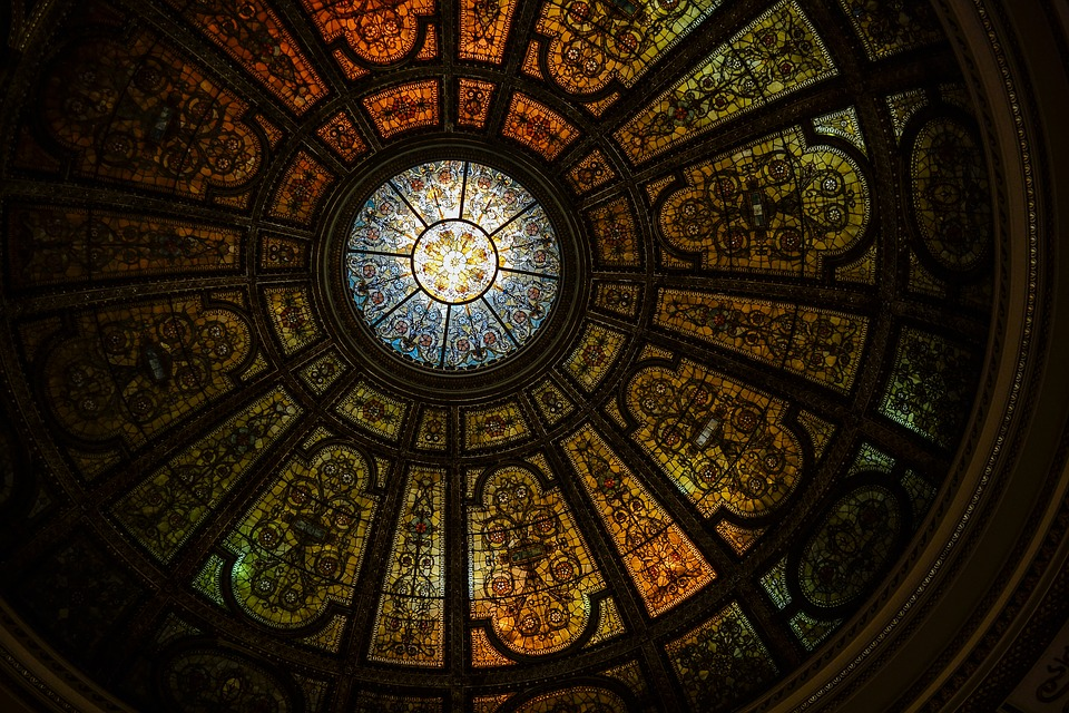 Art, Ceiling, Dome, Pattern, Stained Glass, Black Art