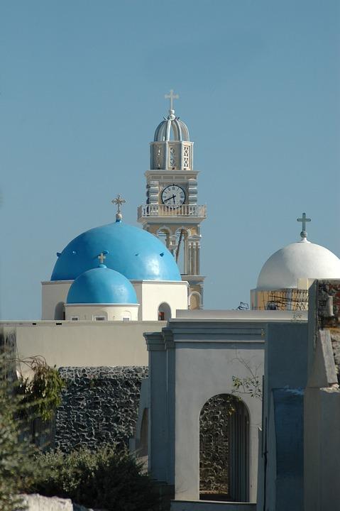 Greece, Santorini, Architecture, Dome, Orthodox Church