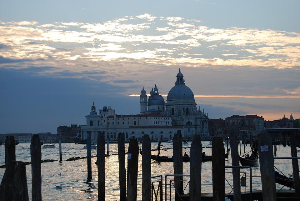 Venice, Italy, Laguna, Sea, Church, Dome