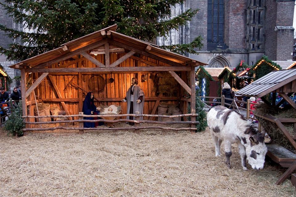 Christmas Market, Stall, Donkey, Crib, Maria, Josef
